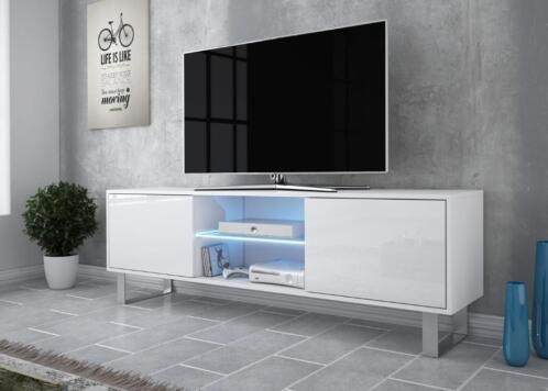 Tv Meubel Led.Hoogglans Wit Zwart Tv Meubel Met Led Verlichting 160 Cm