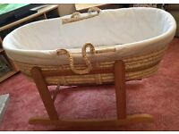 Moses Basket & Wooden Rocking Stand in Excellent Condition! + FREE Giant Rabbit!