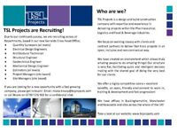 TSL Projects are Recruiting - Quantity Surveyors
