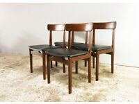 Set of four 1970's mid century leatherette dining chairs