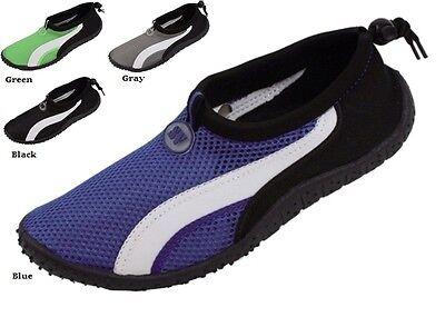 Mens Slip On Water Aqua Shoes Socks Black Blue Gray Green Sizes 7 8 9 10 11 12