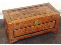 Oriental carved large Kamphor wood trunk chest