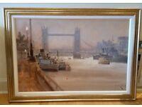 Large framed print: 'Thameside Morning' by John Haskins