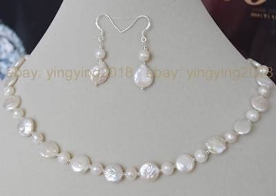 11-12mm white coin pearls & 6-7mm akoya pearl necklace earrings jewelry set (Coin Pearls Bead Sets)