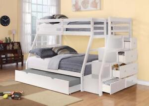 Solid wood bunk beds, mattresses. good for cottages, aprartments, basements. Lowest price in town.PayNpick up right away