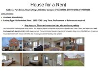 House for a Rent Address: Park Street, Rowley Regis, B65 0LS; 3 bed rooms and 2 cars parking