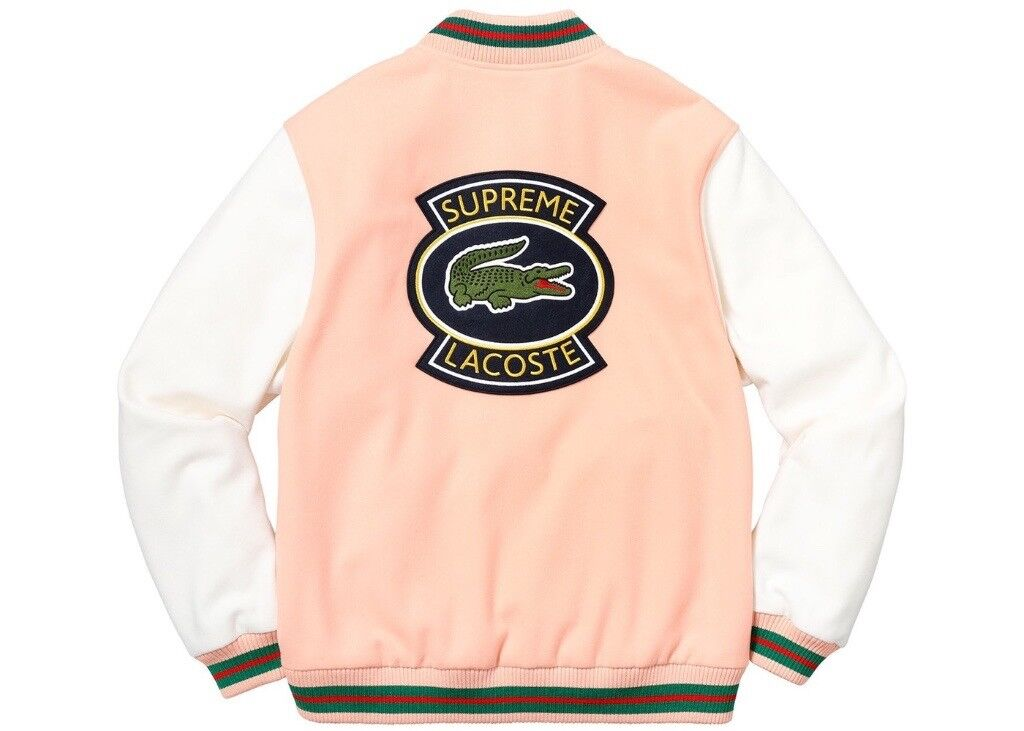 Supreme Lacoste Wool Varsity Jacket Peach Ds Brand New In Hendon