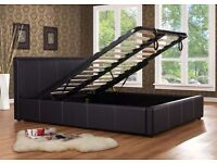 DOUBLE STORAGE LEATHER BED WITH SEMI ORTHOPAEDIC MATTRESS.ALL SIZE AVAILABLE SINGLE BED KINGSIZE BED