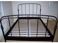 IKEA Black Metal King size Double Bed Frame And Sultan Mattress £50 ONO