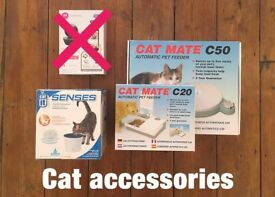 Small pet (cat or dog) accessories -- x3 items. Feeders x2 and water bubbler x1
