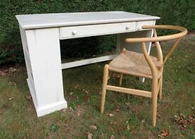 SHABBY CHIC WOODEN WRITING DESK PULL OUT TRAY DRAW & BOOK STORE DRESSING TABLE LIGHT CREAM