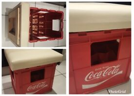 Made from an original Coca-Cola crate. Padded seat in beige faux leather.