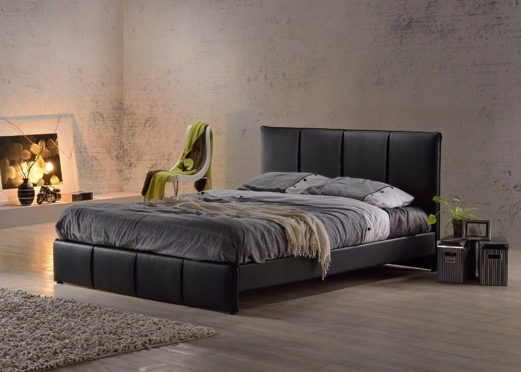 PURE FAUX LEATHER DOUBLE BED FRAME -- STRONGLY