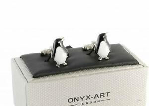 Black and White Penguin Shape Shirt Cufflinks. Supplied in Cuff-links Box