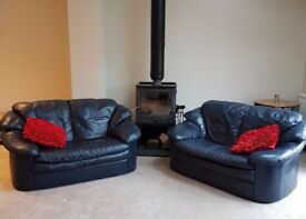 **2 MATCHING NAVY LEATHER SOFAS BOTH IN VERY GOOD CONDITION**GREAT VALUE**