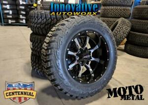 BLOWOUT WHEEL AND TIRE PACKAGE! Moto Metal MO970 20x10 -24mm on Centennial Mud Hog 35/12.50R20
