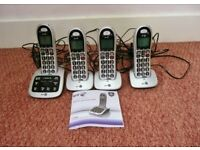 BT4500 Quad Big Button Cordless Phone with Answer Machine + 3 Handsets / 4 Phones Telephones