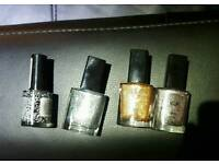 Unused nail polish, metal blue, grey and gold + black and white