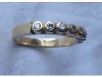 Half eternity ring, 18 ct gold with 0.3 ct diamonds - brilliant cut x 7 stones. Valued at £1,100