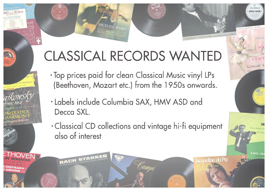 Classical Record Collections WantedCash paid for clean vinyl LPsin Redfield, BristolGumtree - CLASSICAL RECORDS WANTED Top prices paid for clean Classical Music vinyl LPs from the 1950s onwards. Labels include Columbia SAX, HMV ASD and Decca SXL. Classical CD collections and vintage hi fi equipement also of interest