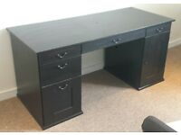 Hemnes black-brown desk with padded Home Depot chair