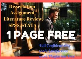 1 Page Free- Dissertation/ PhD Thesis/ Essay/ Assignment/ Proposal/ SPSS/ Statistical Analysis Help