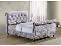 4'6 Double sleigh bed grey crushed velvet, £415