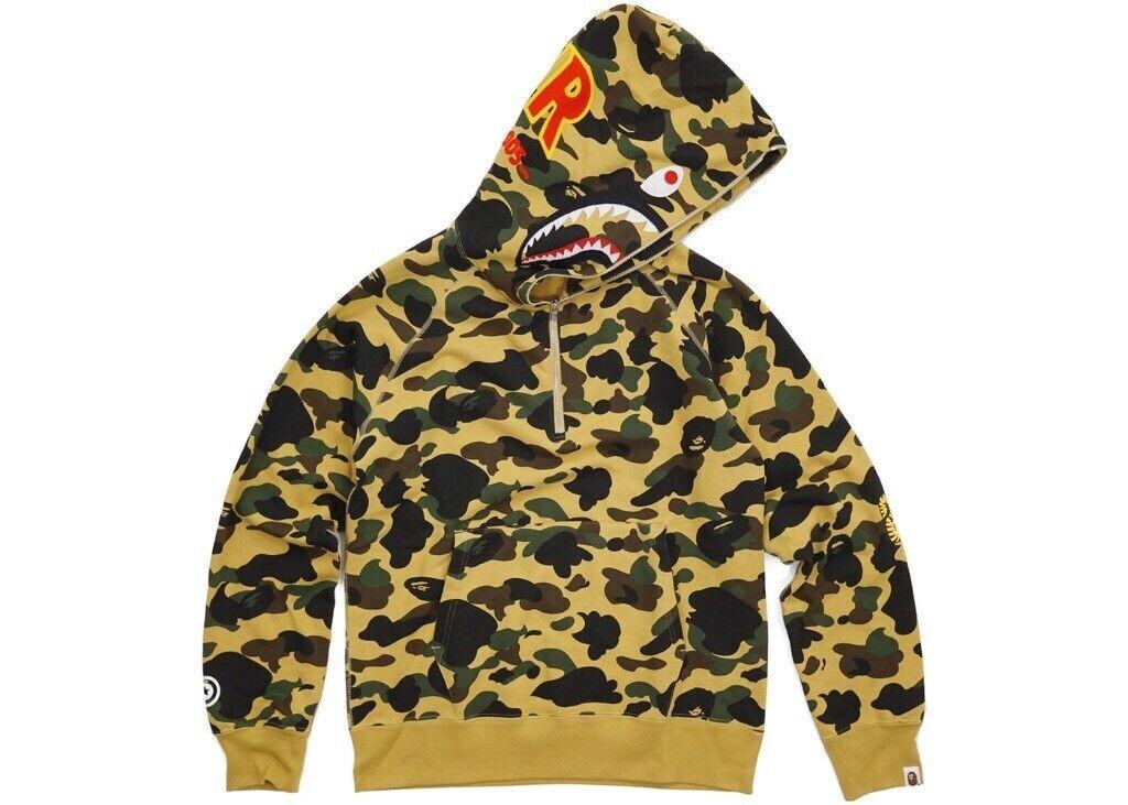 f6d2c320b64f BAPE Ultimate 1st Camo PONR Shark Half Zip Raglan Pullover Hoodie Yellow