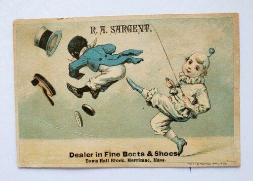 R.A. Sargent Shoe Dealer Trade Card - White Boy Kicking Black Boy - Merrimac MA