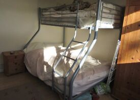 Metal frame bunk bed. Double and single. Free