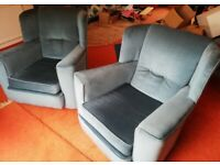 Armchair x 2 Blue soft material/velvet