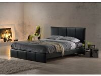 FAST DROOPS = FULL FOAM SET = BRAND NEW DOUBLE OR KING SIZE FAUX LEATHER BED FRAME w BASIC MATTRESS