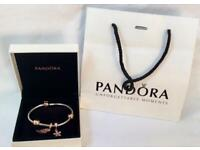 Genuine Pandora Bracelet Silver & Rose Gold with Rose Gold Charms & Clips
