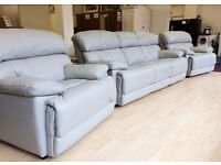 Reduced!! - GREY LEATHER 3 Piece Suite (3+1+1) , 3 Seater SOFA + 2 x ARMCHAIRS + FREE LOCAL DELIVERY