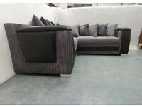 BRAND NEW TAURUS JUMBO-CORD/LEATHER CORNER SOFA AVAILABLE IN 3+2 SOFA SET AS WELL