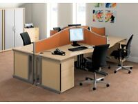 10 - WAVE DESKS IN MAPLE - PEDESTALS AVAILABLE ALSO - VG COND - 5 YR GUARANTEE