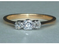 Diamond trilogy ring - size L - elegant old style, set in platinum (valued at £1,250)