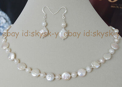 11-12mm coin white pearls necklaces natural pearl necklace earring jewelry (Coin Pearls Bead Sets)