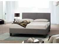 BRAND NEW DOUBLE GREY FABRIC BED WITH FREE MATTRESS AND FREE QUILT £99