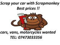 SCRAP CARS WANTED!! SELL YOUR CAR!! CASH FOR CARS!!