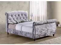 4'6 Double sleigh bed grey crushed velvet, £415.