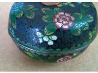 vintage enamel metal chinese lidded bowl