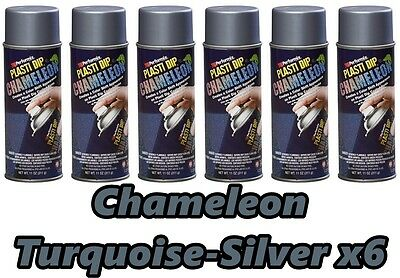 Performix Plasti Dip Chameleon Turquoise Silver 6 Pack Spray 11oz Aerosol Cans