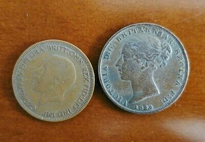 2 UK COINS, 26/SHILLING 1844, 1/2 PENNY 1929
