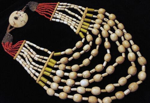 N4041 - Antique Hand Woven Naga Tribe Shell Necklace -  Ethnic Boho