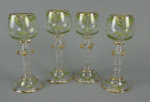 4 Bohemian Art Nouveau Wine Glasses Goblets With Prunts Moser Cut Glass Details