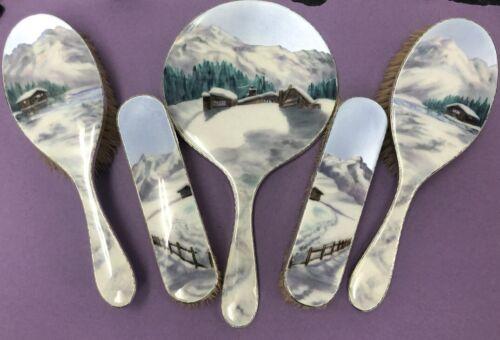 Unusual Silver & Enamel Mirror & Brush Set Winter Scene London 1952