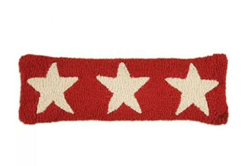 Chandler 4 Corners 3 white stars red pillow wool hooked 4th of July Winter