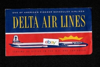 Delta Airlines 1958 Ticket Jacket Dc 7 Serving 60 Cities In The Us   Caribbean