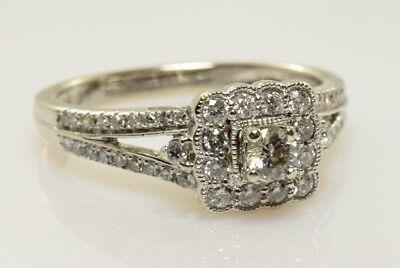 Diamond Halo Filigree Engagement Ring Set in 14k White Gold .52 Carats Size 7